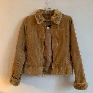 Vintage Mudd Corduroy Faux Fur Trim Jacket
